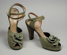 Sandals, 1943, American. Made of leather and suede.