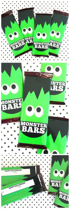 Printable Monster Bars Candy Bar Wrappers So Fun For Halloween! Halloween Candy Bar, Scary Halloween Decorations, Holidays Halloween, Halloween Treats, Halloween Diy, Happy Halloween, Spooky Decor, Halloween Festival, Candy Stations