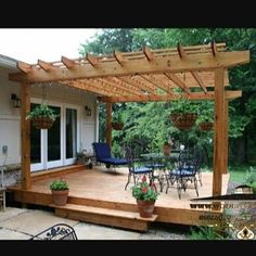 It is popular among people to construct attached pergola with their homes. The attached pergola helps them to extend the living space with the shaded patio area. You can create the outdoor living space and also reach to the swimming pool being prepar Deck With Pergola, Backyard Pergola, Pergola Shade, Deck Gazebo, Gazebo Plans, Modern Pergola, Covered Pergola, Cheap Pergola, Corner Pergola