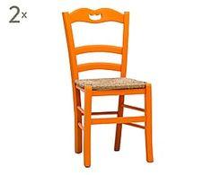 Set di 2 sedie in faggio con seduta in paglia arancione - 45x88x45 cm