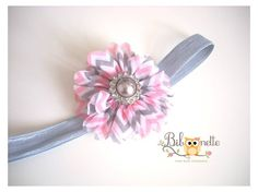 Bandeau pour Bébé/Fille Fleur Ballerine & Chevron Gris /Rose