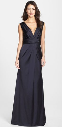 I rather like this.  But could I have worn it?Midnight blue satin gown by Vera Wang