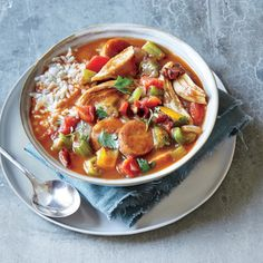 Turkey and Andouille Sausage Gumbo | MyRecipes.com This gumbo is a great use for leftover roasted turkey, though cooked chicken will also work. We skip the long-stirred roux here in favor of filé powder, a thickener made from the sassafras plant; look for it on the spice aisle. For the best results, stir in the filé powder off the heat.
