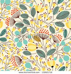 Elegant seamless pattern with yellow flowers, vector illustration - stock vector