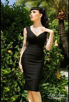 Erin Wiggle Dress in Black Stretch Bengaline from Pinup Couture