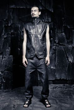 SS16 CRUST OF MOON Leather Vest, Leather Sandals, Cuffed Pants, Ss16, Goth, Menswear, Superhero, Collection, Black