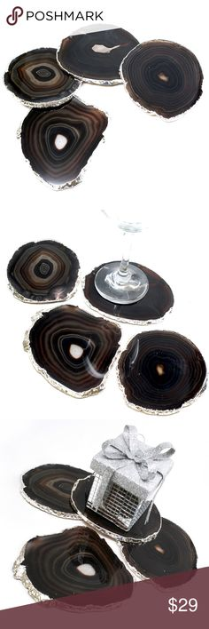 """Classy Modern Silver Plated Agate Coasters 4pc Set I promise, you will not find GENUINE Agate Coasters with REAL silver plating at this size, quality and cohesiveness as a set anywhere online!   Authentic Brazilian Agate Coasters with real silver plating! Approx 4.5"""" in diameter each. Great for entertaining, unique home decor accessorizing, and even DIY projects like framing. THIS IS EXACT SET YOU WOULD RECEIVE...NO FALSE ADVERTISING :) :) :)  If you have any requests for color, plating…"""