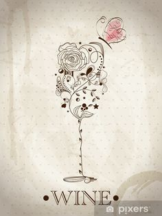 Pattern for painting wine glass? Tattoo Fleur, Wine Tattoo, Wine Art, Painted Wine Glasses, Retro Flowers, In Vino Veritas, Vector Pattern, Free Pattern, Vector Free