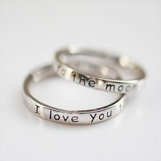 I Love You to The Moon and Back Sterling Silver Dainty Promise Ring for Her [100687] - $62.00 : jewelsin.com