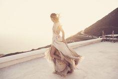 Samuelle Couture gown via The LANE's Mystique Editorial in Santorini.
