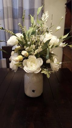 Fresh farmhouse white ranunculus floral arrangement in a medium size rustic vase. Just the right size for your table,side table , countertop or anywhere you need a fresh look. Silk Floral Arrangements, Beautiful Flower Arrangements, Table Arrangements, Floral Centerpieces, Beautiful Flowers, Simple Flowers, Wedding Centerpieces, Wedding Table, Spring Flower Arrangements