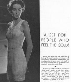 The Vintage Pattern Files: Free Knitting Pattern - Vest and Panties Crochet Vintage, Vintage Knitting, Vintage Sewing Patterns, Knitting Patterns, Crochet Patterns, Knitting Ideas, Vintage Underwear, Suit Pattern, Girls Sweaters