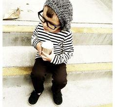 Little hipster enjoying his morning joe