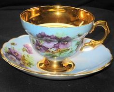 Rosina Queen Gold Footed Purple Pansy Blue Mauve Tea Cup and Saucer Blue