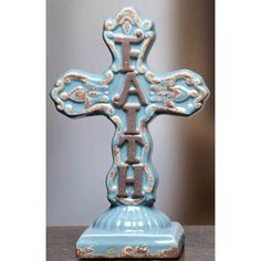 Medium Faith Ceramic Cross Pedestal  Lots of New Products! Shop now for Easter! www.femailcreatio... #UniqueGifts #GiftsForWomen #Gifts #GiftsForAllOccassion #InspirationalGifts #Tribe #Sassy #Girlfriends #Sisterhood #Easter #EasterGifts