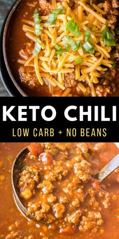 This hearty keto chili features tons of meat, peppers, spices and tomatoes! At just net carbs per serving this low carb, no bean chili will a family favorite! free dinner recipes Easy Keto Chili (low carb + no bean chili) - Maebells Ketogenic Recipes, Diet Recipes, Healthy Recipes, Ketogenic Diet, Low Carb Soup Recipes, Chicken Recipes, Keto Chicken, Bread Recipes, Easy Recipes