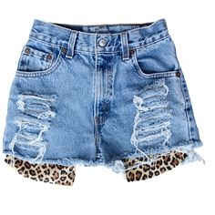 Peekaboo Cheetah (54 CAD) ❤ liked on Polyvore featuring shorts, bottoms, pants, vintage ripped shorts, cheetah shorts, ripped denim shorts, vintage denim shorts and vintage shorts
