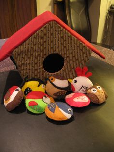 Play birdhouse and felt birds - front view by spaceanddeath, via Flickr