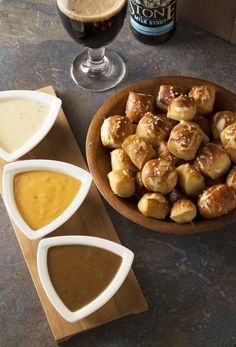 Oktoberfest Trio of Beer Cheese Dips - a delicious trio of beer cheese dips made with stout, pale ale, and saison beers. Celebrate Oktoberfest right ! Beer Cheese, Cheese Dips, Pretzel Dip, Pretzel Bites, Beer Recipes, Cooking Recipes, Pesto, Tapas, Beer Dip