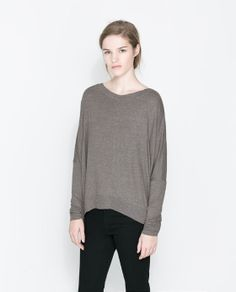 Image 1 of VISCOSE BOAT NECK T-SHIRT from Zara