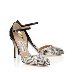 Escarpins Mary Jane en cuir d'élaphe blanc, cuir brillant noir et cuir de chevreau noir| Lisco 90 | Pré-Collection Automne-Hiver 2015 | JIMMY CHOO Chaussures