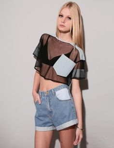 Horace Mesh Chambray Crop Top
