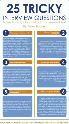 Infographic - 10 of 25 Tricky Interview QuestionsYou can find Job interview questions and more on our website.Infographic - 10 of 25 Tricky Interview Questions Job Interview Answers, Job Interview Preparation, Job Interview Tips, Job Interviews, Management Interview Questions, Interview Dress, Leadership Interview Questions, Interview Questions For Employers, Interview Tips Weaknesses