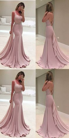 dusty pink mermaid prom party dresses, elegant fashion formal gowns, dreamy backless gowns.