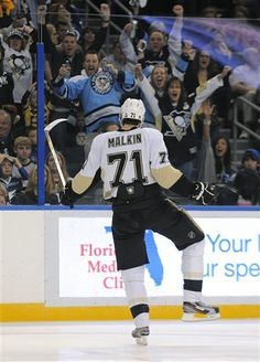 Evgeni Malkin after the first of three goals against Tampa Bay  1-15-12