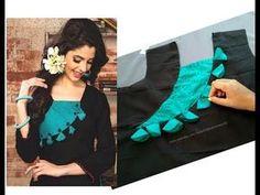 Designing with Fabric tassels on churidars/kurtis Chudidhar Neck Designs, Neck Designs For Suits, Neckline Designs, Fancy Blouse Designs, Blouse Neck Designs, Kurti Sleeves Design, Sleeves Designs For Dresses, Kurta Neck Design, Neck Design For Kurtis