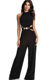 35b6d8d687f0 Black Mock Neck Cutout Wide Leg Stylish Jumpsuit Pant Jumpsuit
