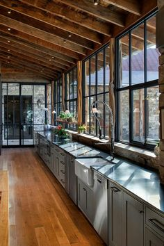 long kitchen with window