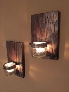 Candle holders, rustic wood candle holder, wall decor, mason jar sconce SET OF 2 #Handmade #ArtDecoStyle