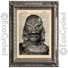 Creature from the Black Lagoon on Vintage Upcycled Dictionary Page Book Art Print Recycled Movie Monster on Etsy, $10.00