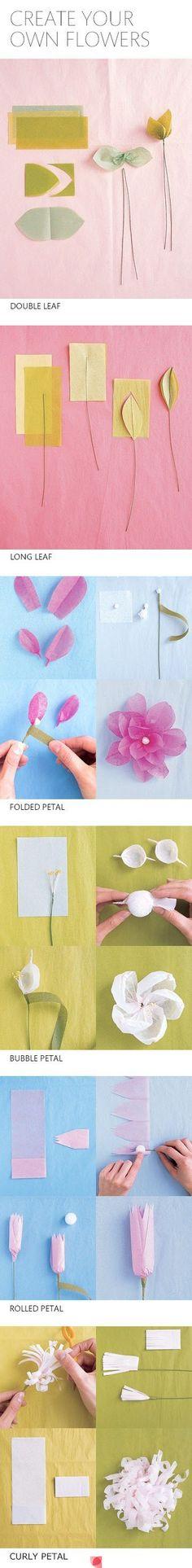 Faça diferentes tipos de flores para decorar a sua Festa.