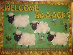 Cute welcome back bulletin board for beginning of school.