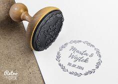Stempel ślubny 60mm personalizowany, wianek - RetroNadruk - Zaproszenia ślubne