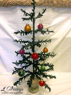 Felted Wool Tree w/ Gourd Ornaments | from Gatherings at Muncy Creek Barn Works