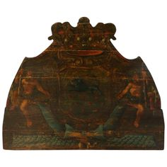Large Original Painted Baroque Coat of Arms Oil on Panel, 19th Century   From a unique collection of antique and modern decorative art at https://www.1stdibs.com/furniture/wall-decorations/decorative-art/