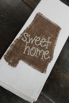Sweet Home Alabama monogrammed kitchen towel/dish cloth/Tea Towel-bridal shower-housewarming-hostess gift on Etsy, $10.00