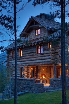 Fireplace on the porch / Cabin in Crested Butte, Montana