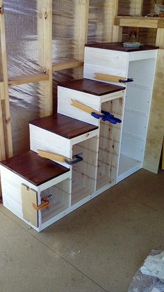 Trofast storage to sturdy stair conversion IKEA Hackers Understairs Ideas conversion Hackers Ikea Stair storage Sturdy TROFAST Loft Bed Stairs, Tiny House Stairs, Bunk Beds With Stairs, Garage Stairs, Loft Staircase, Bunk Bed Steps, Cool Bunk Beds, Kids Bunk Beds, Loft Spaces
