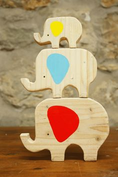simple, wonderful wooden elephants, via Kickcan & Conkers Wooden Hand, Wooden Diy, Diy For Kids, Gifts For Kids, Kids Room Accessories, Animal Cutouts, Wooden Elephant, Conkers, Eco Friendly Toys