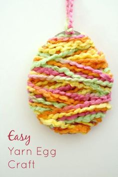 Yarn Egg Easter Craft – Fantastic Fun & Learning Easy Yarn Egg Craft for Easter…fun and easy for kids to make. Great for Easter parties, class activities, and large group gatherings Easter Craft Activities, Egg Crafts, Easter Projects, Easter Art, Hoppy Easter, Easter Crafts For Kids, Easter Eggs, Class Activities, Easter Ideas