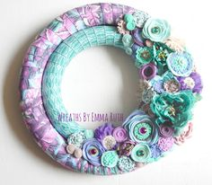 Double Wrapped Fabric Wreath with felt flowers made by Wreaths By Emma Ruth