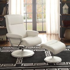 Homelegance Caius Swivel Reclining Chair w/ Ottoman in White Leather