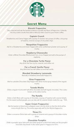 Starbuck's secret menu. Guess its not a secret anymore