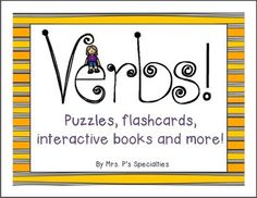 This set is perfect for teaching about verbs without worksheets! Students will have fun while learning with the interactive book, games, puzzles, etc. There is also a strong focus on pronouns in the student and interactive books. Repinned by SOS Inc. Resources pinterest.com/sostherapy/.