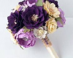 Paper Flower Bouquet Paper Bouquet Wedding by morepaperthanshoes Paper Flowers Wedding, Crepe Paper Flowers, Flower Bouquet Wedding, Wedding Paper, Boquette Wedding, Flower Paper, Origami Bouquet, Paper Bouquet, Paper Flower Bouquets