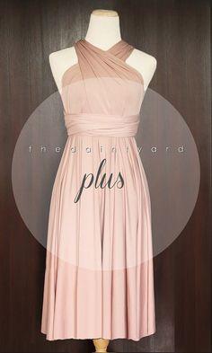 PLUS SIZE Short Straight Hem Nude Pink Bridesmaid by thedaintyard